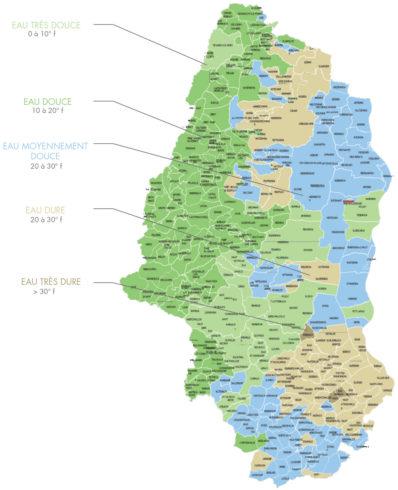Dureté moyenne de l'eau dans le Haut Rhin